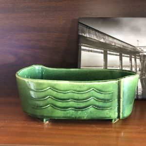 Vintage USA Pottery Green Wave Ribbed Planter